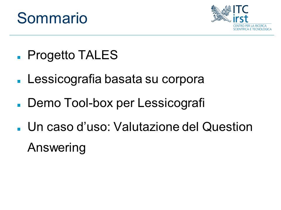 Sommario Progetto TALES Lessicografia basata su corpora
