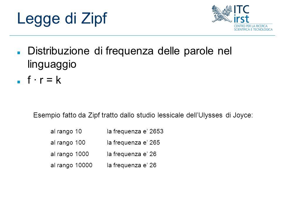 Legge di Zipf Distribuzione di frequenza delle parole nel linguaggio