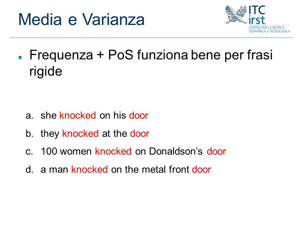 Media e Varianza Frequenza + PoS funziona bene per frasi rigide