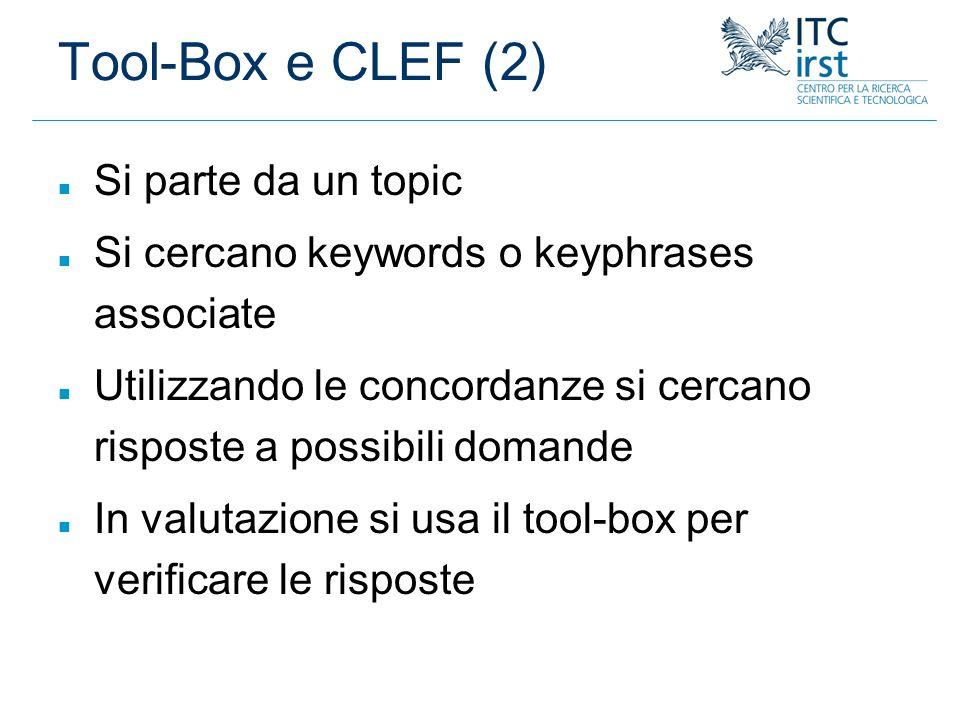 Tool-Box e CLEF (2) Si parte da un topic