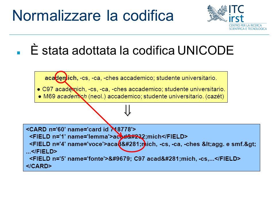 Normalizzare la codifica