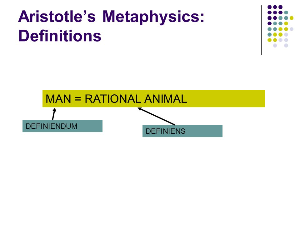 Aristotle's Metaphysics: Definitions