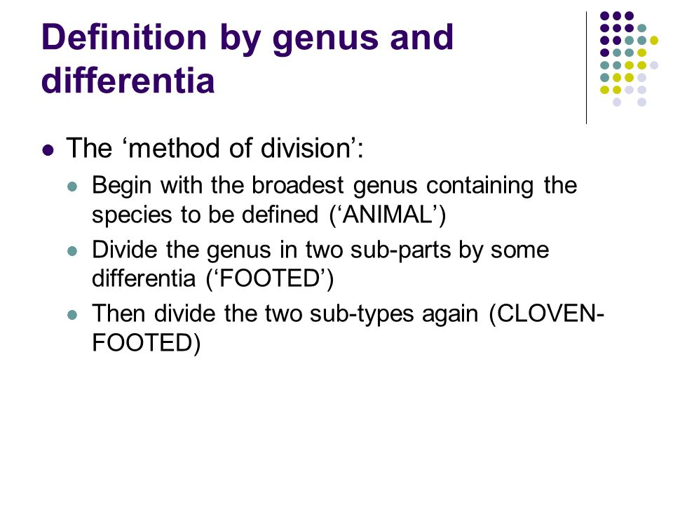 Definition by genus and differentia