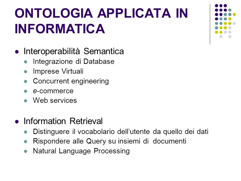 ONTOLOGIA APPLICATA IN INFORMATICA