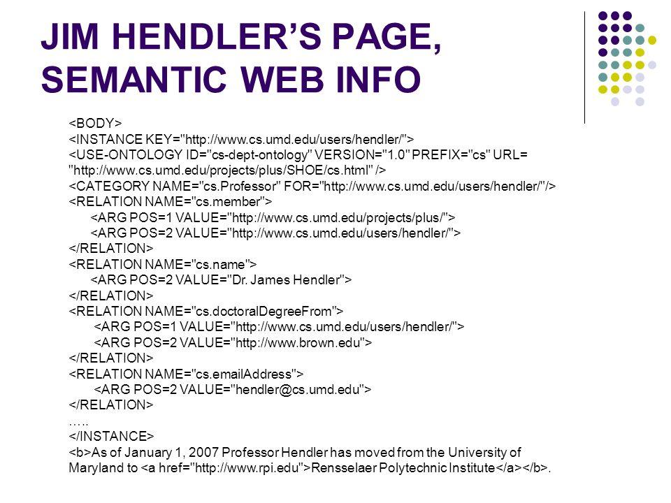 JIM HENDLER'S PAGE, SEMANTIC WEB INFO