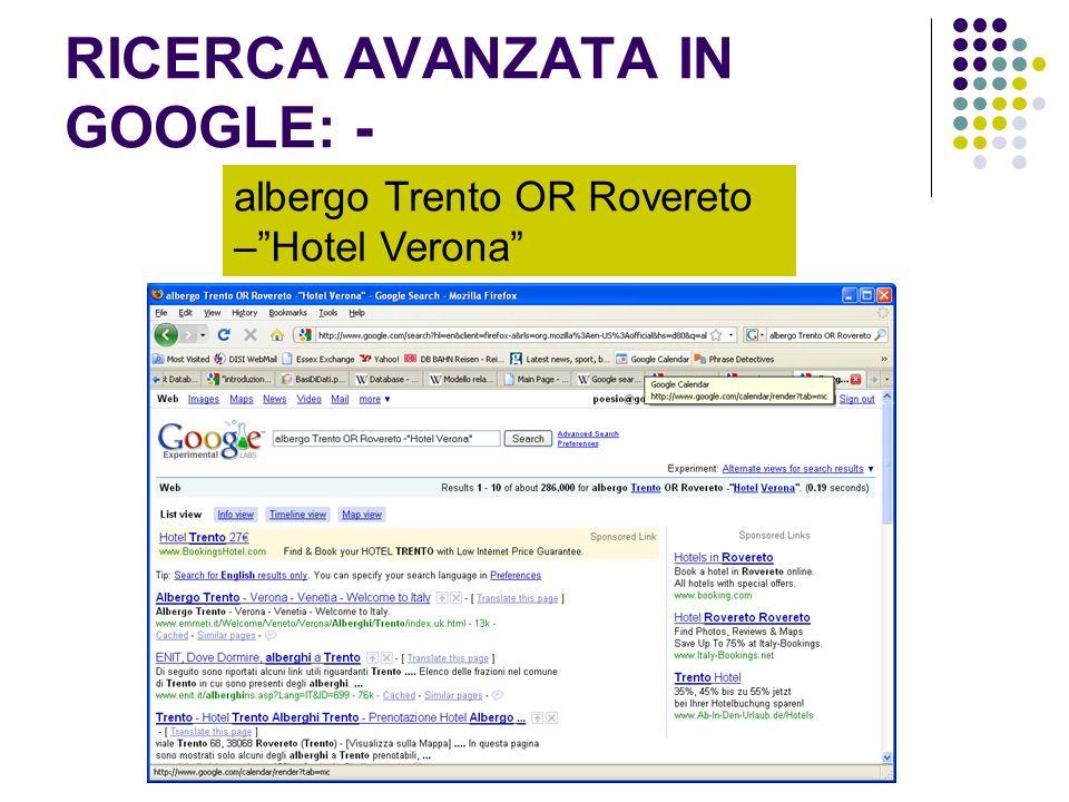 RICERCA AVANZATA IN GOOGLE: -