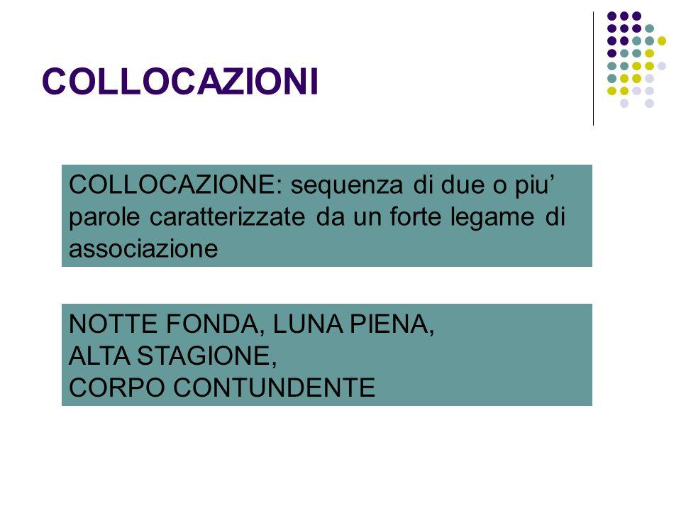 COLLOCAZIONI COLLOCAZIONE: sequenza di due o piu' parole caratterizzate da un forte legame di associazione.