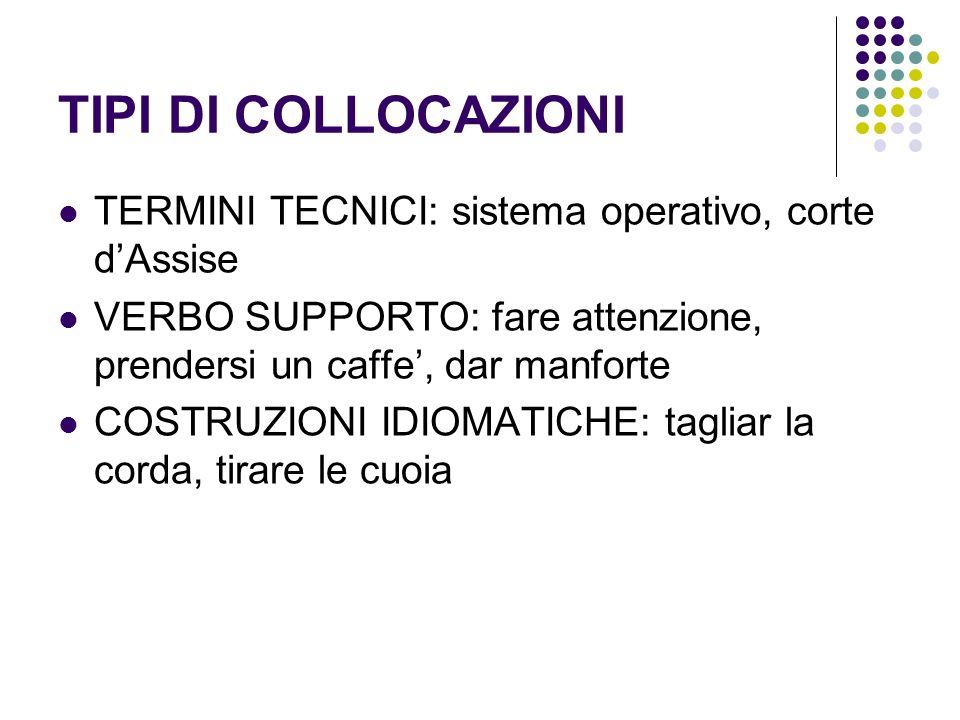 TIPI DI COLLOCAZIONI TERMINI TECNICI: sistema operativo, corte d'Assise. VERBO SUPPORTO: fare attenzione, prendersi un caffe', dar manforte.