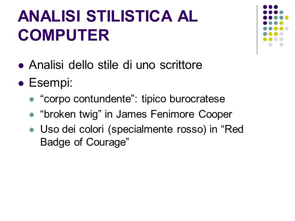 ANALISI STILISTICA AL COMPUTER