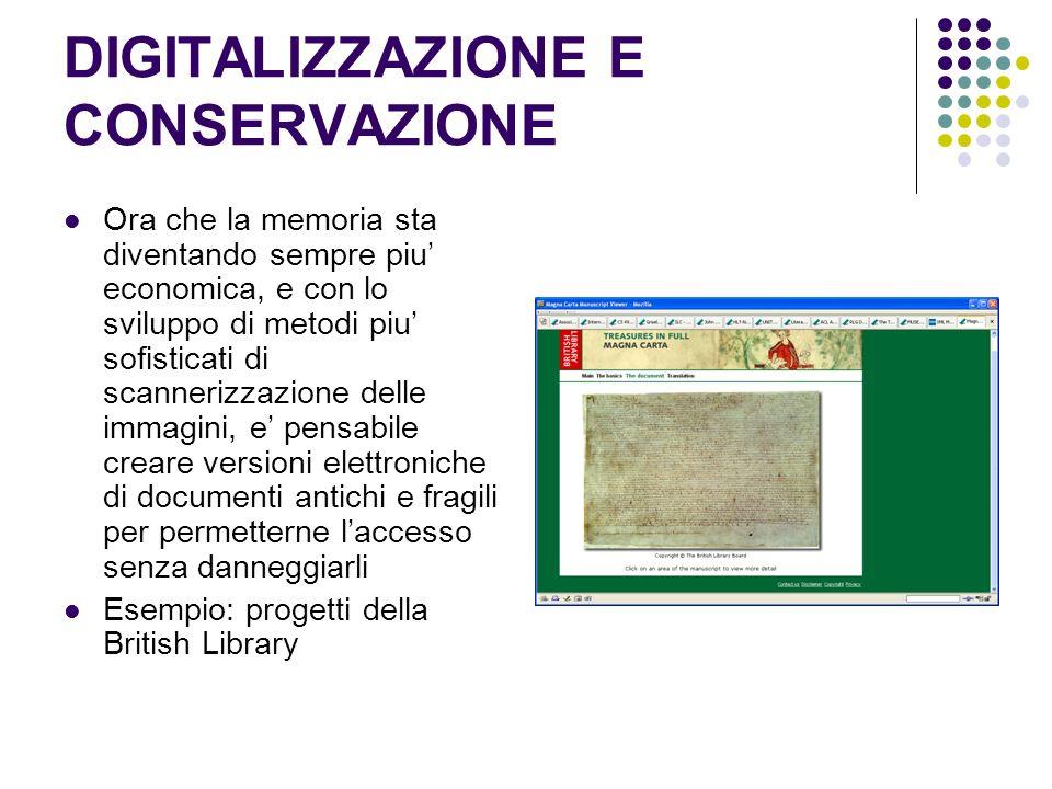 DIGITALIZZAZIONE E CONSERVAZIONE