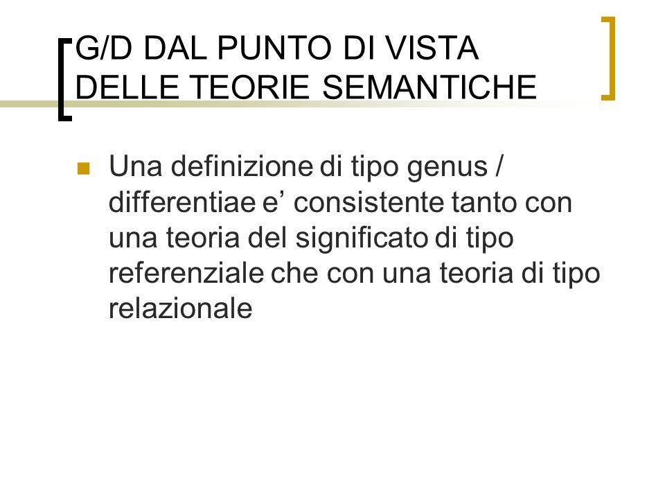 G/D DAL PUNTO DI VISTA DELLE TEORIE SEMANTICHE