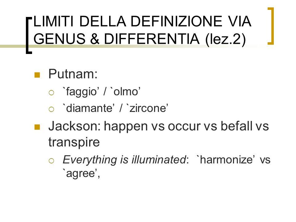 LIMITI DELLA DEFINIZIONE VIA GENUS & DIFFERENTIA (lez.2)