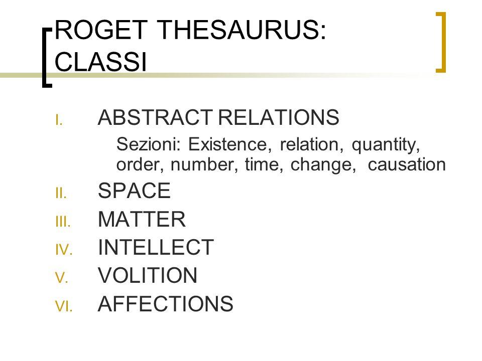 ROGET THESAURUS: CLASSI