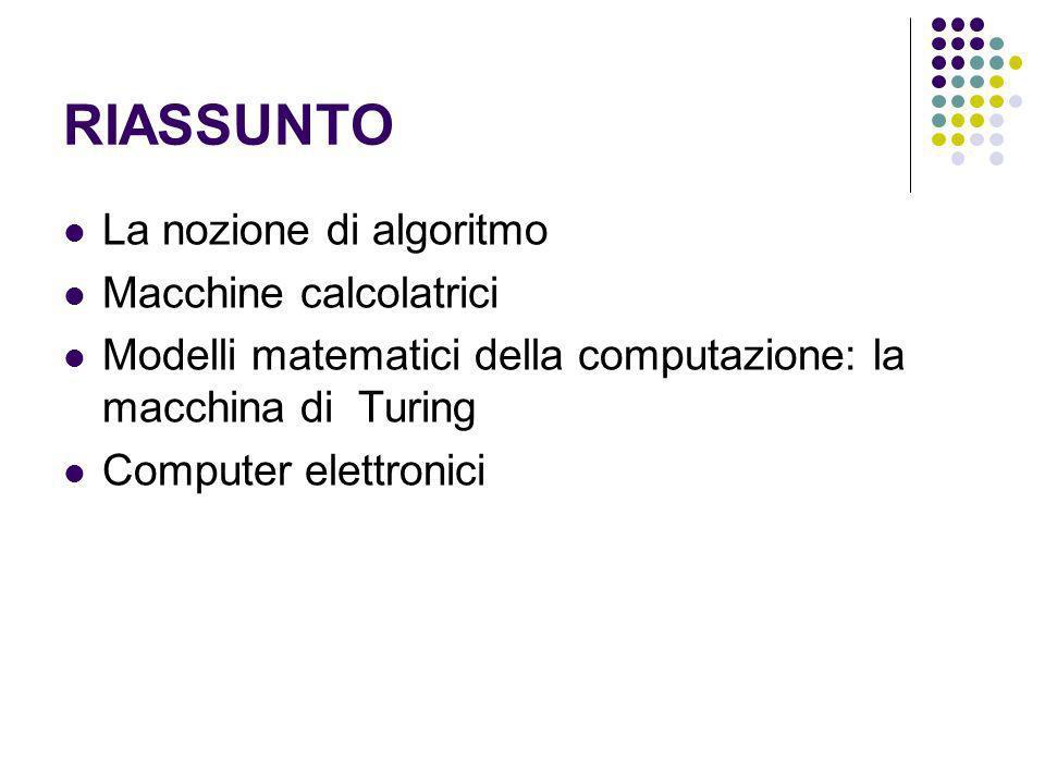 RIASSUNTO La nozione di algoritmo Macchine calcolatrici