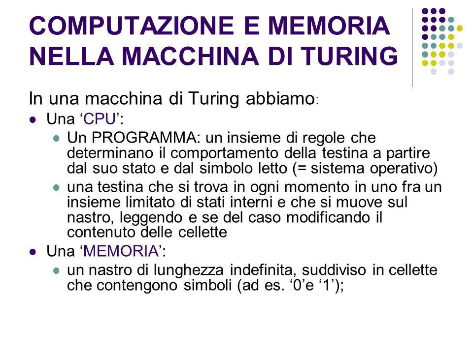 COMPUTAZIONE E MEMORIA NELLA MACCHINA DI TURING