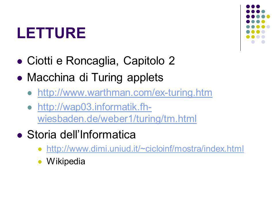 LETTURE Ciotti e Roncaglia, Capitolo 2 Macchina di Turing applets