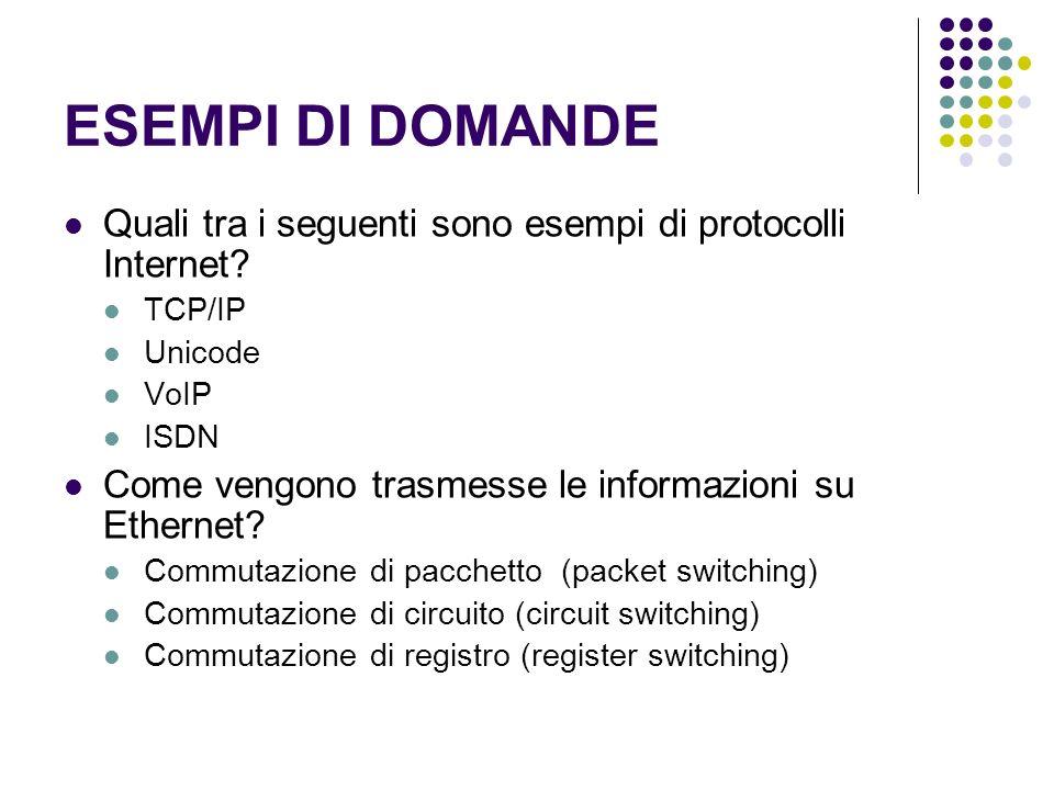 ESEMPI DI DOMANDE Quali tra i seguenti sono esempi di protocolli Internet TCP/IP. Unicode. VoIP.