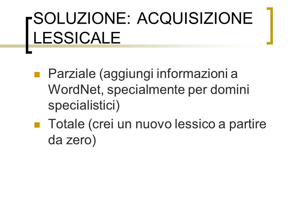SOLUZIONE: ACQUISIZIONE LESSICALE