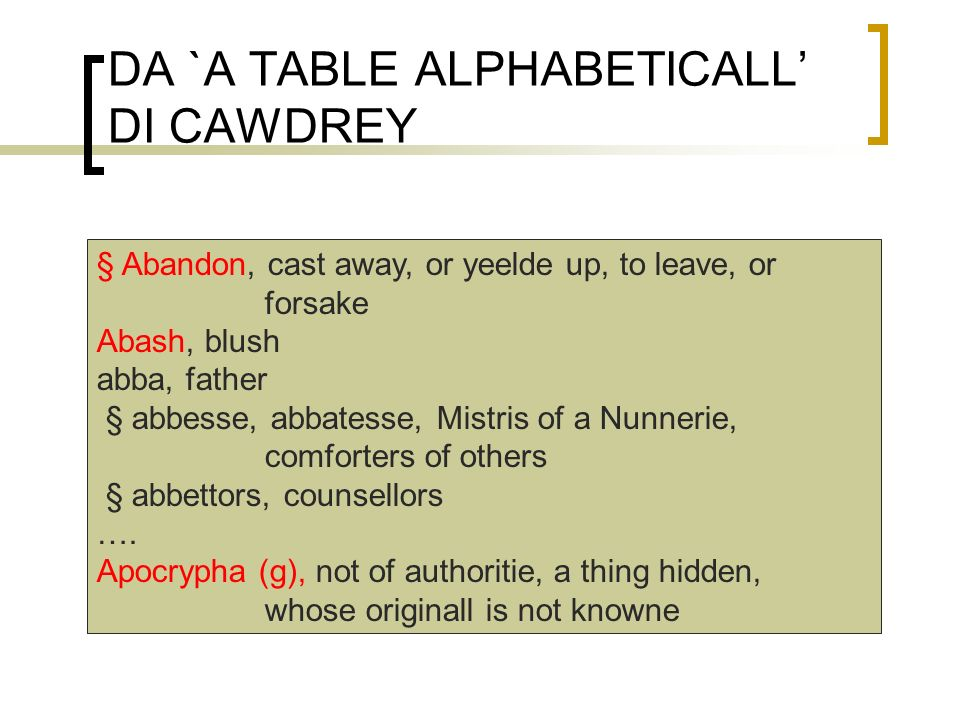 DA `A TABLE ALPHABETICALL' DI CAWDREY