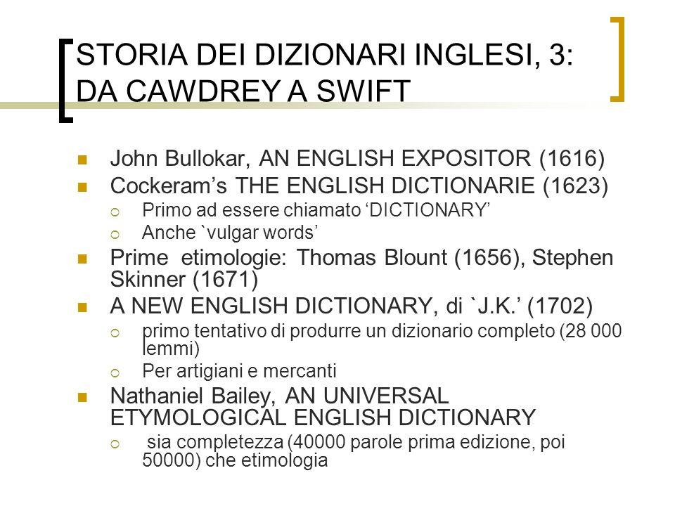 STORIA DEI DIZIONARI INGLESI, 3: DA CAWDREY A SWIFT