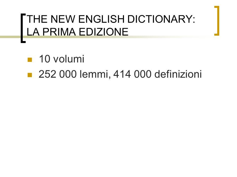 THE NEW ENGLISH DICTIONARY: LA PRIMA EDIZIONE
