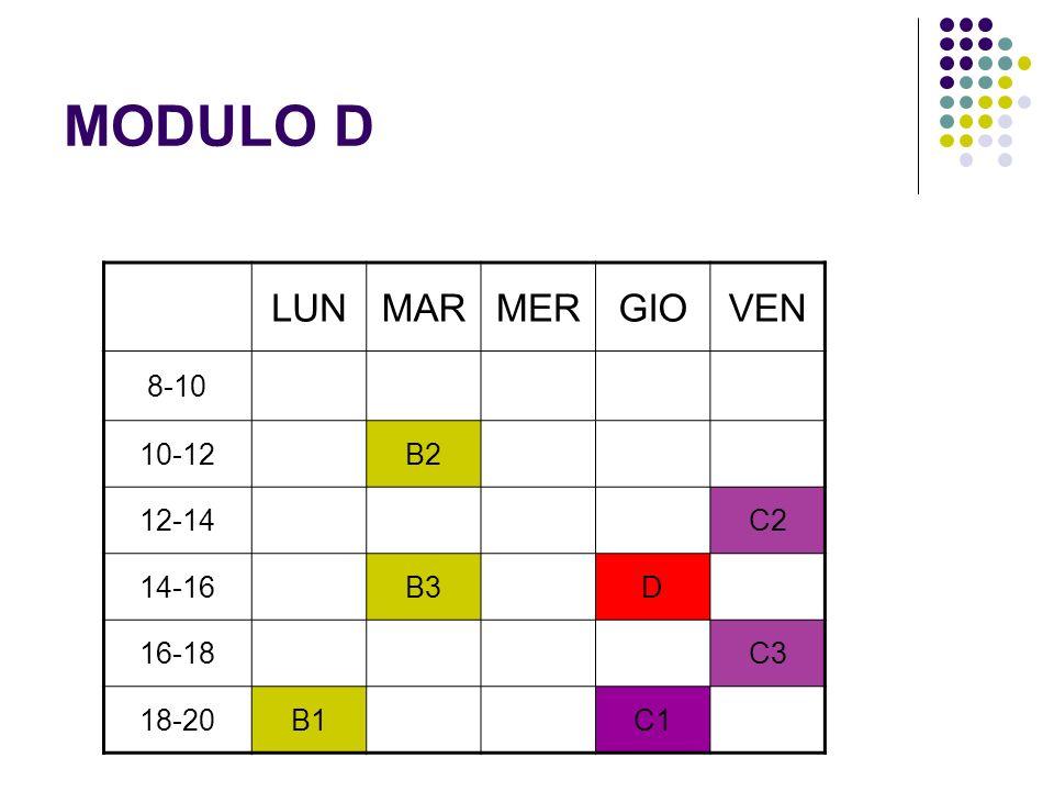 MODULO D LUN MAR MER GIO VEN 8-10 10-12 B2 12-14 C2 14-16 B3 D 16-18