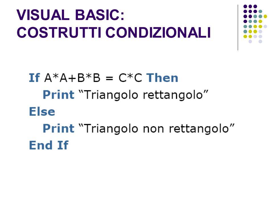 VISUAL BASIC: COSTRUTTI CONDIZIONALI