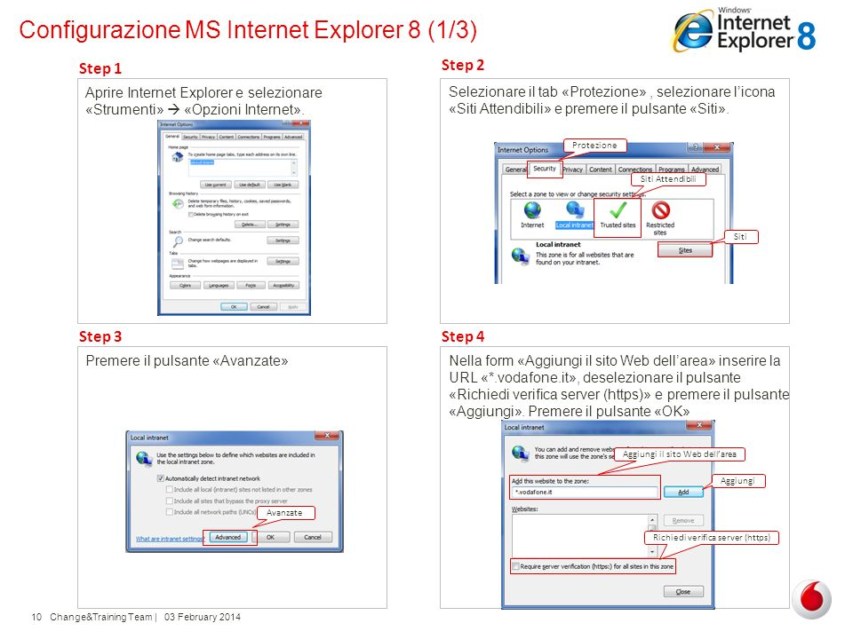 Configurazione MS Internet Explorer 8 (1/3)
