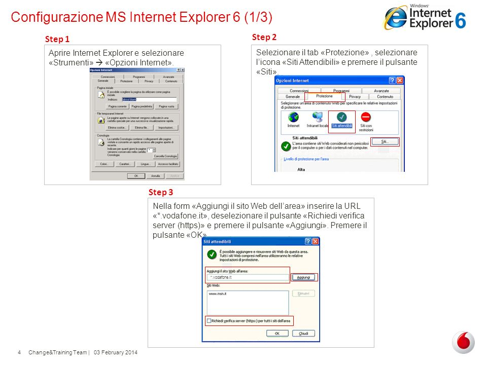 Configurazione MS Internet Explorer 6 (1/3)