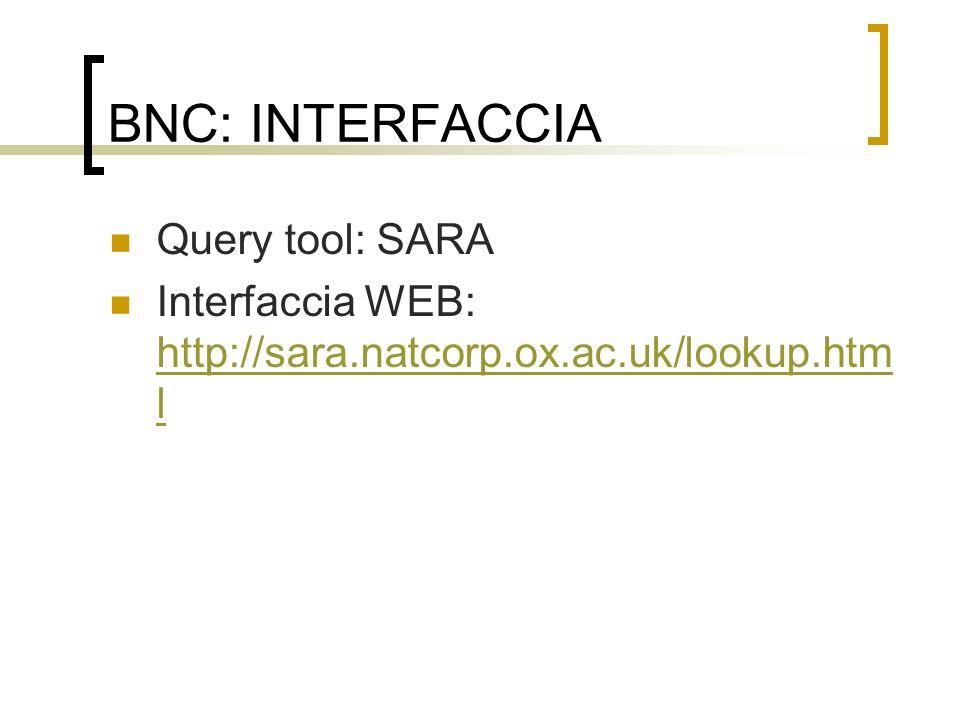 BNC: INTERFACCIA Query tool: SARA
