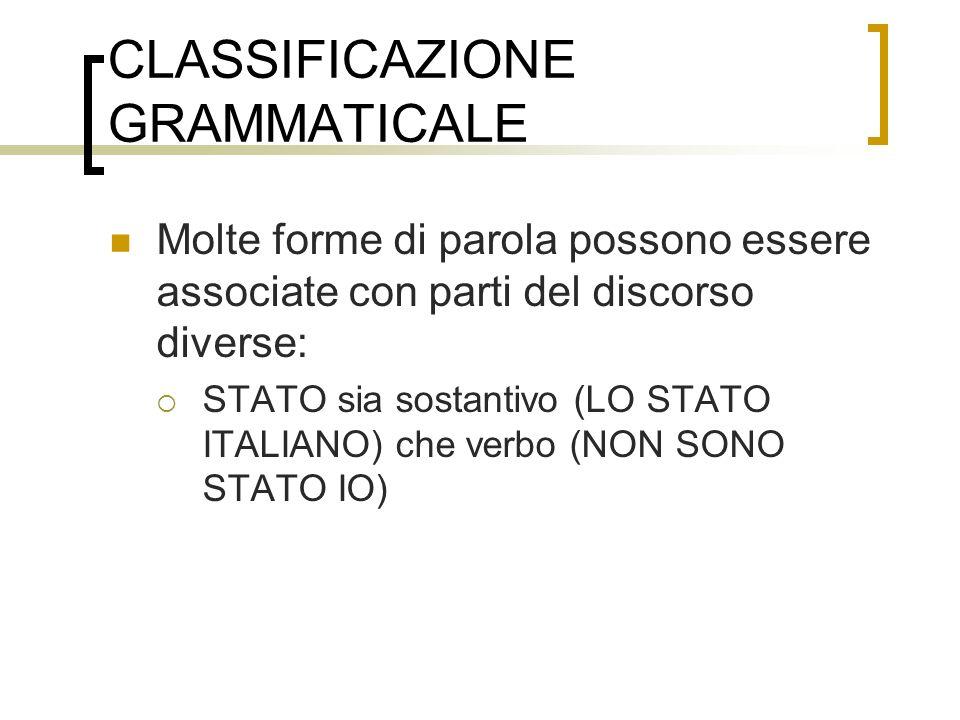 CLASSIFICAZIONE GRAMMATICALE
