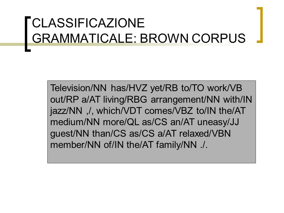 CLASSIFICAZIONE GRAMMATICALE: BROWN CORPUS