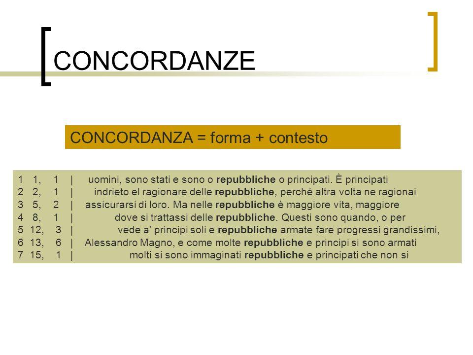 CONCORDANZE CONCORDANZA = forma + contesto