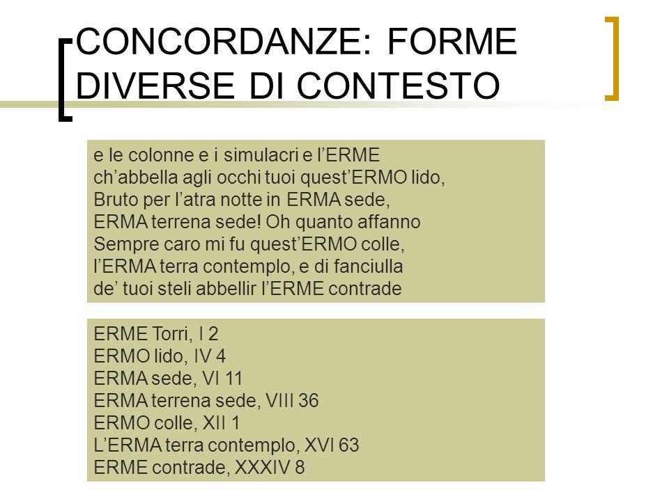 CONCORDANZE: FORME DIVERSE DI CONTESTO