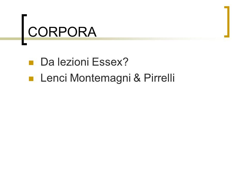 CORPORA Da lezioni Essex Lenci Montemagni & Pirrelli
