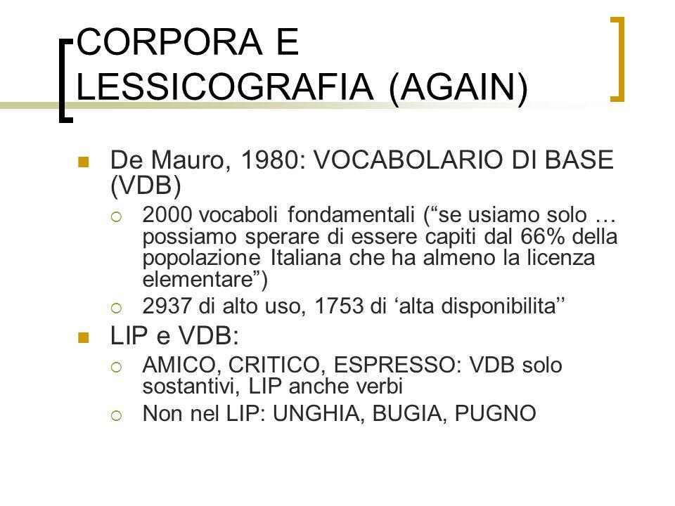 CORPORA E LESSICOGRAFIA (AGAIN)