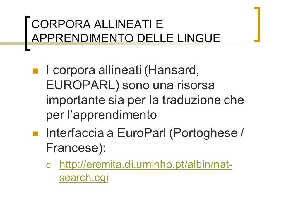 CORPORA ALLINEATI E APPRENDIMENTO DELLE LINGUE