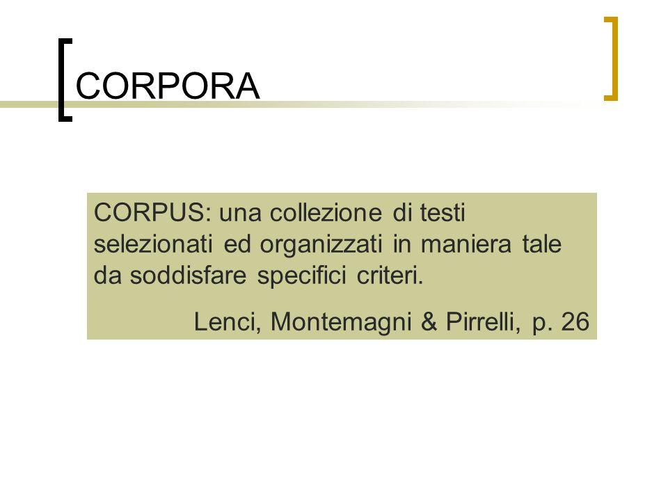 CORPORA CORPUS: una collezione di testi selezionati ed organizzati in maniera tale da soddisfare specifici criteri.