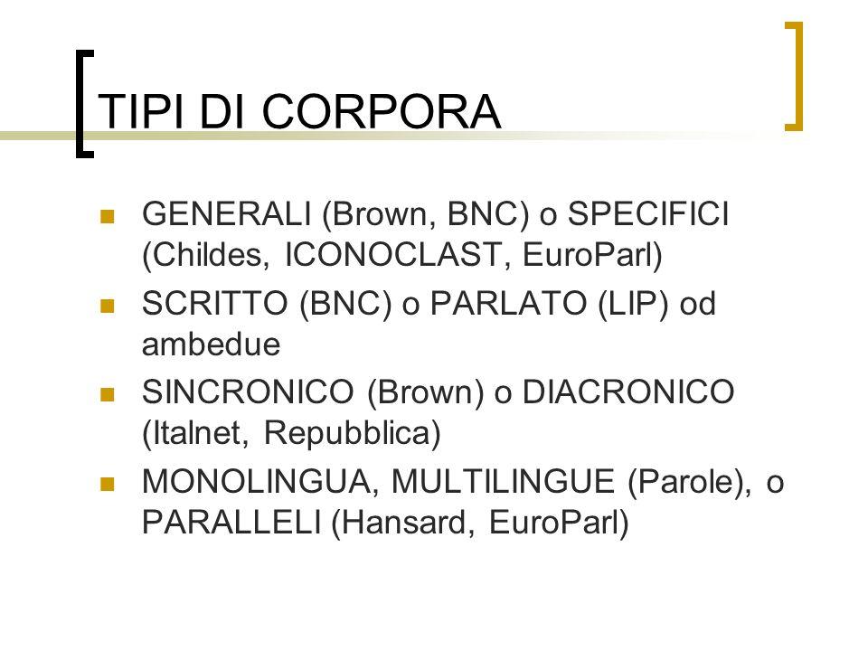 TIPI DI CORPORA GENERALI (Brown, BNC) o SPECIFICI (Childes, ICONOCLAST, EuroParl) SCRITTO (BNC) o PARLATO (LIP) od ambedue.