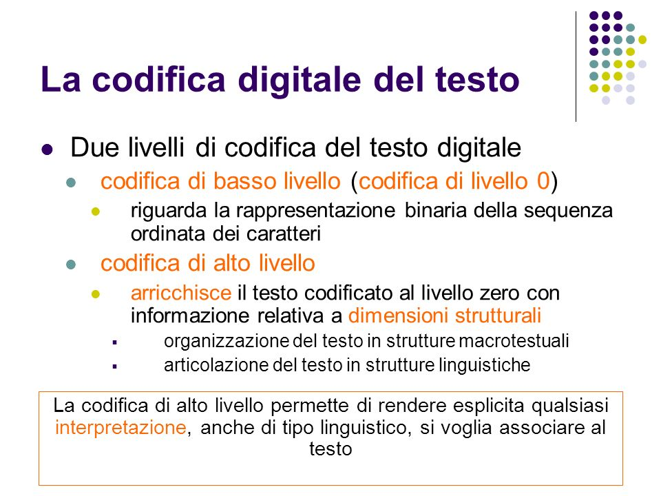 La codifica digitale del testo