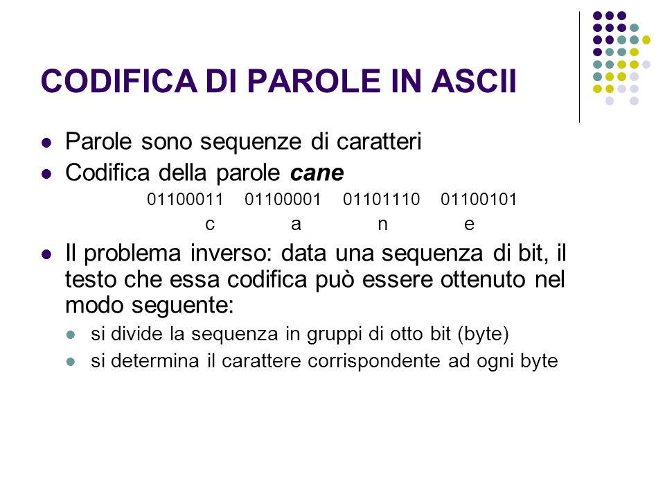 CODIFICA DI PAROLE IN ASCII