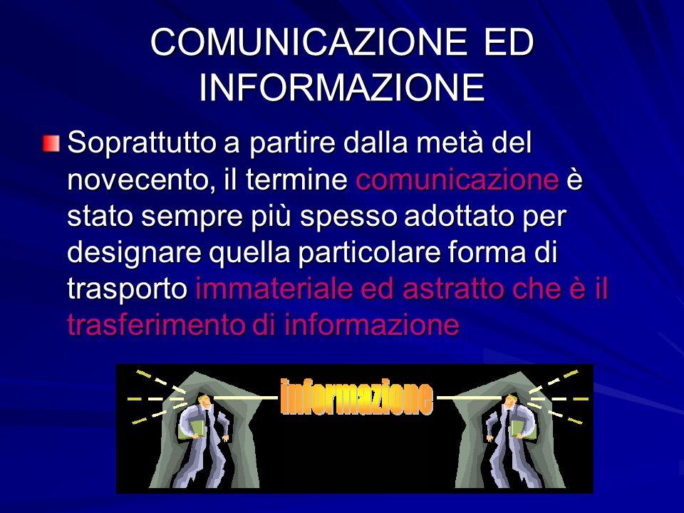 COMUNICAZIONE ED INFORMAZIONE