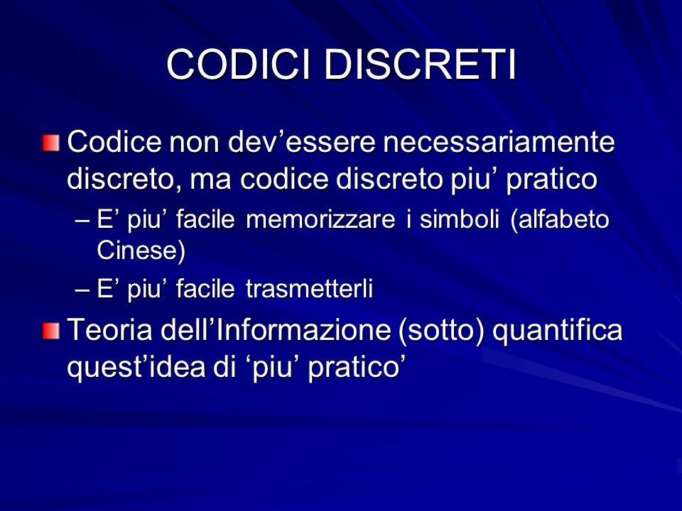 CODICI DISCRETI Codice non dev'essere necessariamente discreto, ma codice discreto piu' pratico.