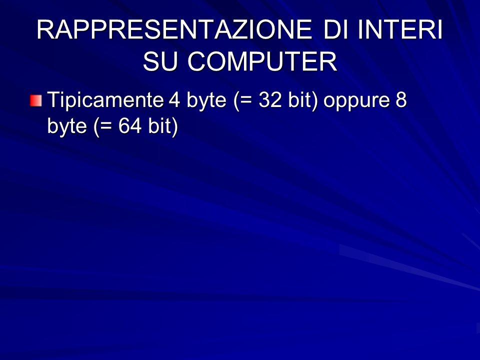 RAPPRESENTAZIONE DI INTERI SU COMPUTER