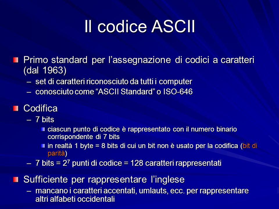 Il codice ASCII Primo standard per l'assegnazione di codici a caratteri (dal 1963) set di caratteri riconosciuto da tutti i computer.