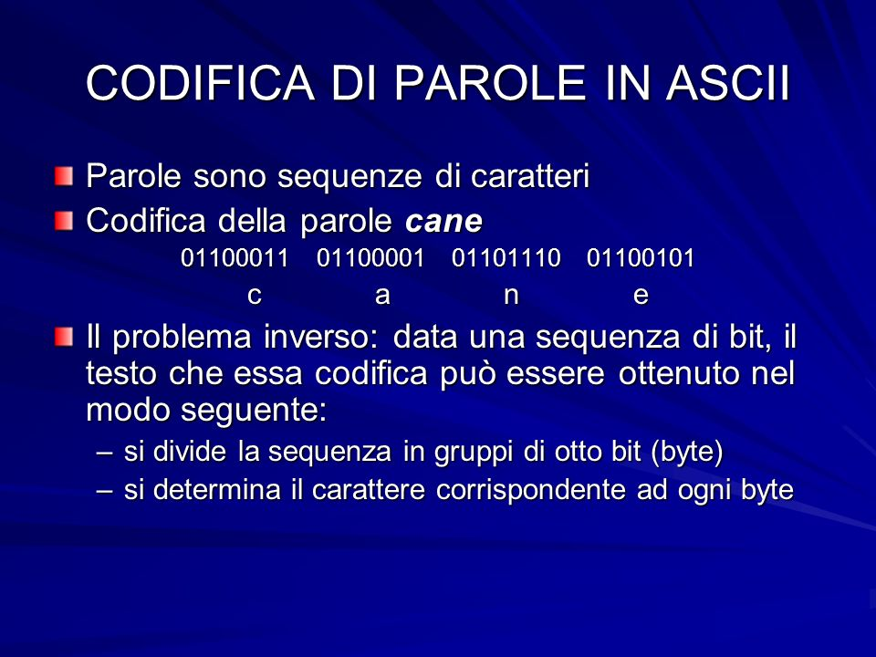 CODIFICA DI PAROLE IN ASCII