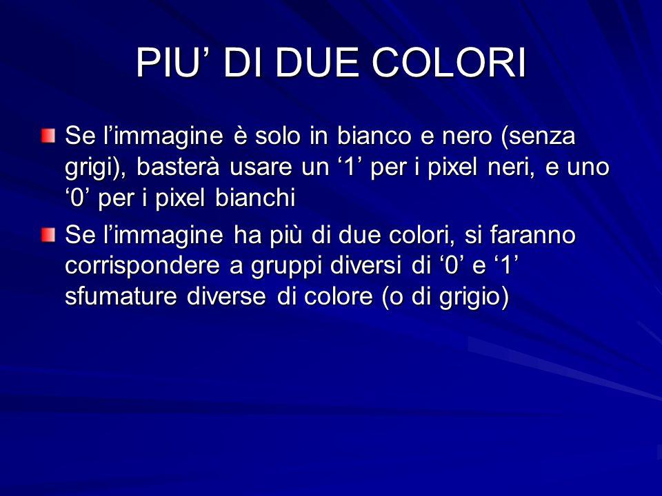 PIU' DI DUE COLORI Se l'immagine è solo in bianco e nero (senza grigi), basterà usare un '1' per i pixel neri, e uno '0' per i pixel bianchi.