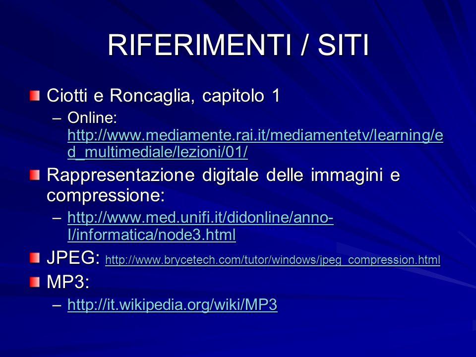 RIFERIMENTI / SITI Ciotti e Roncaglia, capitolo 1