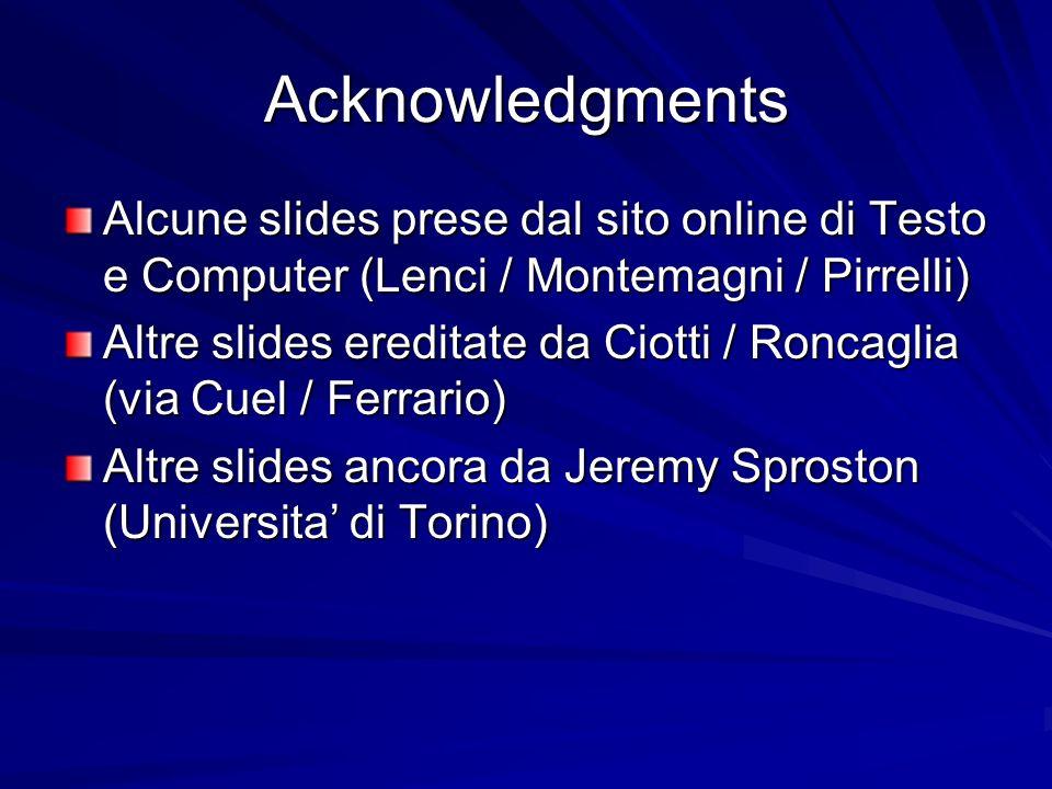 Acknowledgments Alcune slides prese dal sito online di Testo e Computer (Lenci / Montemagni / Pirrelli)