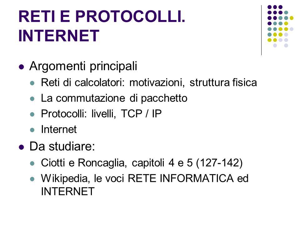 RETI E PROTOCOLLI. INTERNET